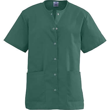 Angelstat® Ladies Two-pockets Jewel Neck Snap-front Scrub Tops, Hunter Green, XS