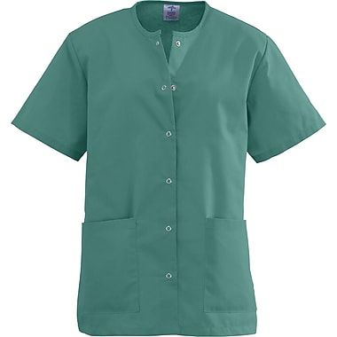 Angelstat® Ladies Two-pockets Jewel Neck Snap-front Scrub Tops, Emerald, Large