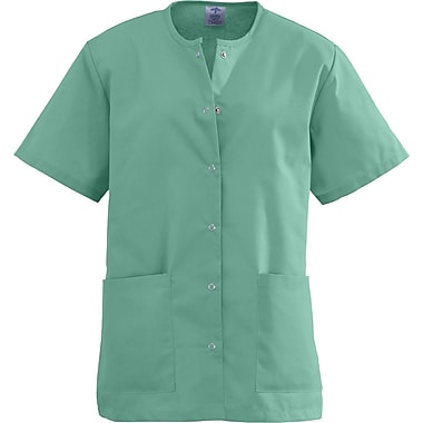 Angelstat® Ladies Two-pockets Jewel Neck Snap-front Scrub Tops, Jade, XL