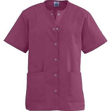 Angelstat® Ladies Two-pockets Jewel Neck Snap-front Scrub Tops, Raspberry, XS
