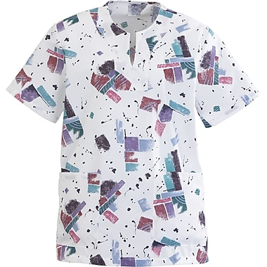 Angelstat® Ladies Two-pockets Keyhole Neck Scrub Tops, Skyline Print, 3XL