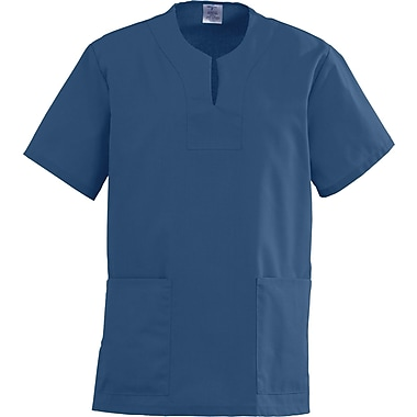 Angelstat® Ladies Two-pockets Keyhole Neck Scrub Tops, Navy Blue, 3XL