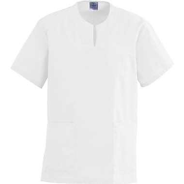 Angelstat® Ladies Two-pockets Keyhole Neck Scrub Tops, White, Small