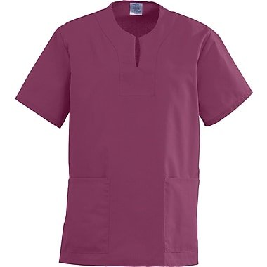 Angelstat® Ladies Two-pockets Keyhole Neck Scrub Tops, Raspberry, 3XL