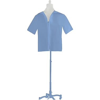 Medline Unisex Zip Front Smocks, Light Blue, Medium