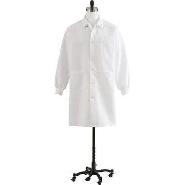 Medline Unisex Knee Length Knit Cuff Lab Coats, White, Large