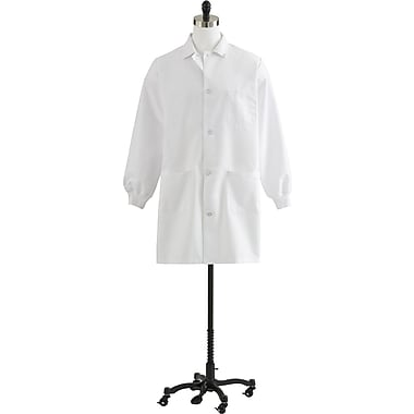 Medline Unisex Staff Length Knit Cuff Lab Coats, White, Large