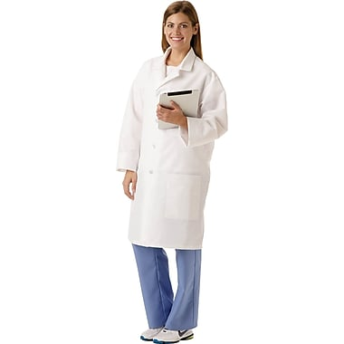 SilverTouch® Unisex Staff Length Antimicrobial Lab Coats, White, 3XL