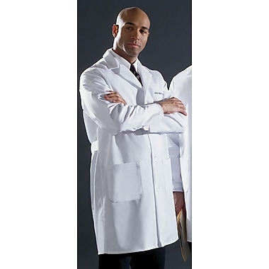 Medline Men Small Fine Line Twill Staff Length Lab Coat, White (87052TRQ38)