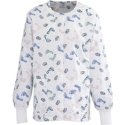 Medline ComfortEase Women Large Jewel Neck Warm-Up Scrub Jacket, Baby Foot Print (8809BFPL)