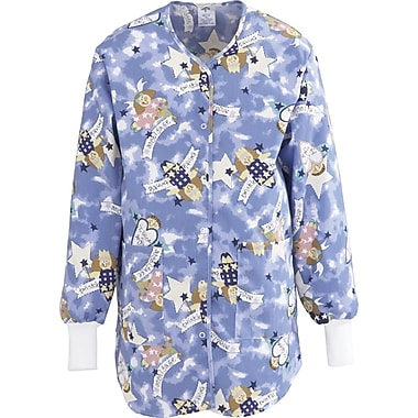 ComfortEase™ Ladies Shirttail Style Two-pockets Scrub Jackets, Angel Face Print, Medium