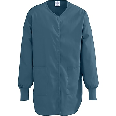 ComfortEase™ Ladies Shirttail Style Two-pockets Scrub Jackets, Caribbean, Medium