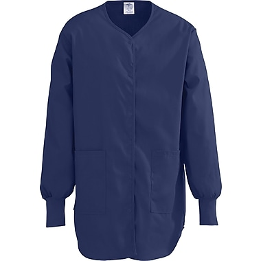 ComfortEase™ Ladies Shirttail Style Two-pockets Scrub Jackets, Midnight Blue, Small