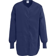 ComfortEase™ Ladies Shirttail Style Two-pockets Scrub Jackets, Midnight Blue, 2XL