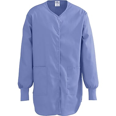 ComfortEase™ Ladies Shirttail Style Two-pockets Scrub Jackets, Ceil Blue, 3XL