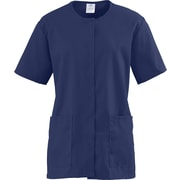 Medline ComfortEase Women Medium Snap Front Tunic Scrub Top, Midnight Blue (8815JNTM)