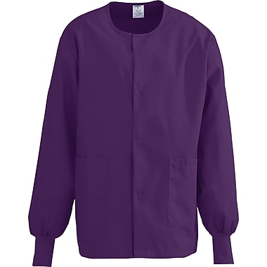 ComfortEase™ Unisex Two-pockets Warm-up Scrub Jackets, Eggplant, Large