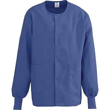 ComfortEase™ Unisex Two-pockets Warm-up Scrub Jackets, Mariner Blue, Medium