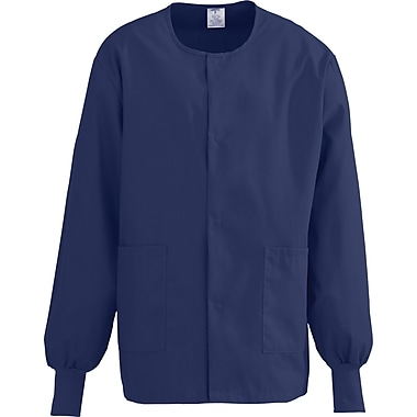 ComfortEase™ Unisex Two-pockets Warm-up Scrub Jackets, Midnight Blue, Large