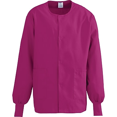 ComfortEase™ Unisex Two-pockets Warm-up Scrub Jackets, Ruby, XS