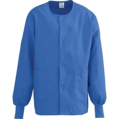 ComfortEase™ Unisex Two-pockets Warm-up Scrub Jackets, Royal Blue, Small