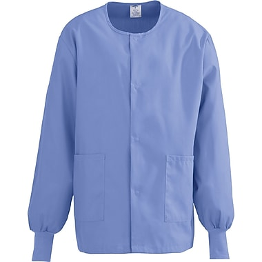 ComfortEase™ Unisex Two-pockets Warm-up Scrub Jackets, Ceil Blue, Small