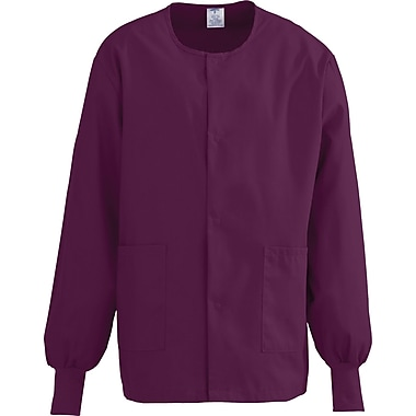 ComfortEase™ Unisex Two-pockets Warm-up Scrub Jackets, Wine, Medium