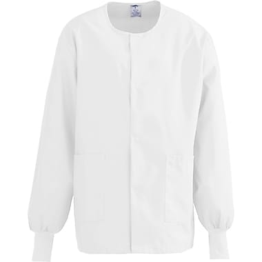 ComfortEase™ Unisex Two-pockets Warm-up Scrub Jackets, White, 4XL