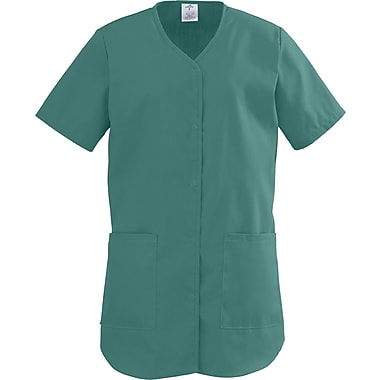 ComfortEase™ Ladies Two-pockets Shirttail Scrub Tops, Evergreen, 3XL