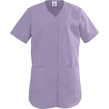 ComfortEase™ Ladies Two-pockets Shirttail Scrub Tops, Lavender, Large