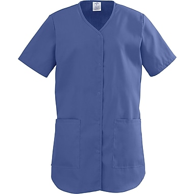 ComfortEase™ Ladies Two-pockets Shirttail Scrub Tops, Mariner Blue, Small