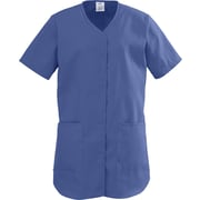 ComfortEase™ Ladies Two-pockets Shirttail Scrub Tops, Mariner Blue, 3XL