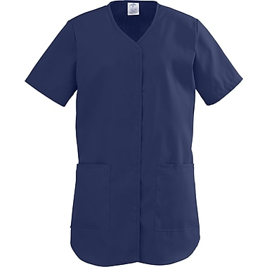 ComfortEase™ Ladies Two-pockets Shirttail Scrub Tops, Midnight Blue, Medium