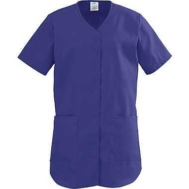 ComfortEase™ Ladies Two-pockets Shirttail Scrub Tops, Rich Purple, XS
