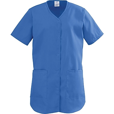 ComfortEase™ Ladies Two-pockets Shirttail Scrub Tops, Royal Blue, XL