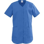 ComfortEase™ Ladies Two-pockets Shirttail Scrub Tops, Royal Blue, Medium