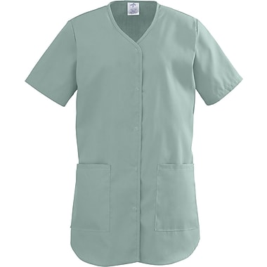 ComfortEase™ Ladies Two-pockets Shirttail Scrub Tops, Seaspray, XL