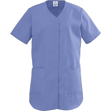 ComfortEase™ Ladies Two-pockets Shirttail Scrub Tops, Ceil Blue, XL