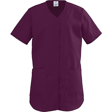 ComfortEase™ Ladies Two-pockets Shirttail Scrub Tops, Wine, XL