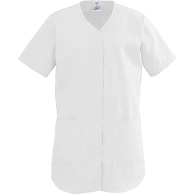 ComfortEase™ Ladies Two-pockets Shirttail Scrub Tops, White, XS