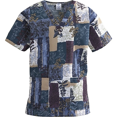 ComfortEase™ Ladies Two-pockets V-neck Scrub Tops, Indigo Collage Print, XS