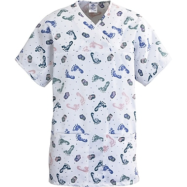 Medline ComfortEase Women 3XL Expandable Tunic Scrub Top, Baby Foot Print (8841BFPXXXL)