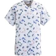 Medline ComfortEase Women Large Expandable Tunic Scrub Top, Baby Foot Print (8841BFPL)