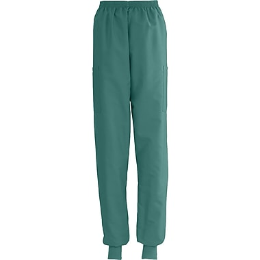 ComfortEase™ Ladies Elastic Knit Cuff Cargo Scrub Pants, Evergreen, Small, Reg Length
