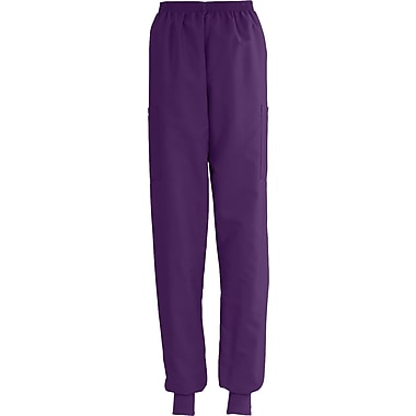 ComfortEase™ Ladies Elastic Knit Cuff Cargo Scrub Pants, Eggplant, XL, Reg Length