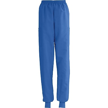 ComfortEase™ Ladies Elastic Knit Cuff Cargo Scrub Pants, Royal Blue, XS, Reg Length