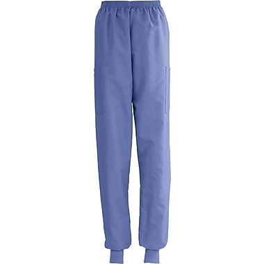 ComfortEase™ Ladies Elastic Knit Cuff Cargo Scrub Pants, Ceil Blue, XL, Reg Length