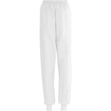 ComfortEase™ Ladies Elastic Knit Cuff Cargo Scrub Pants, White, XL, Reg Length