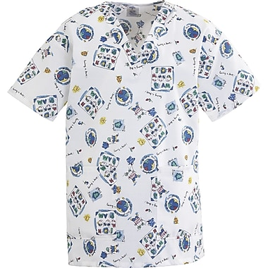 Medline AngelStat Women Small V-Neck Two Pockets Scrub Top, Fun Kids Print (893JEKS)