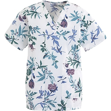 Angelstat® Ladies Two-pockets V-neck Scrub Tops, Blue Floral Print, Small